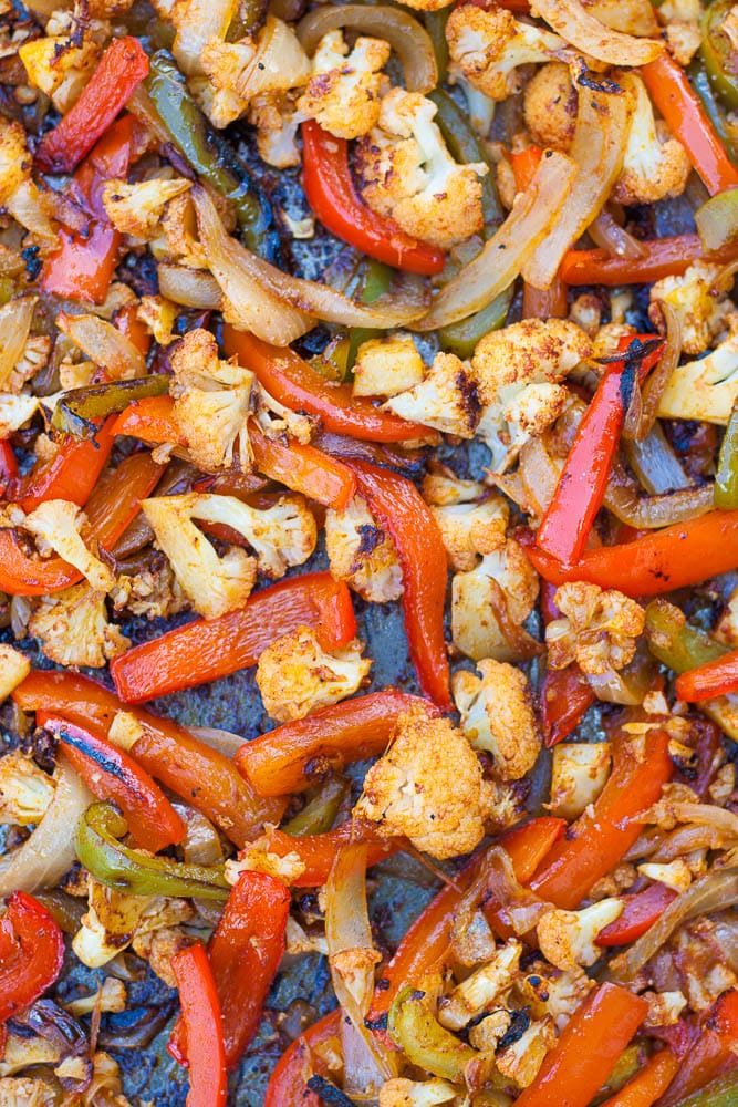 Easy Sheet Pan Vegan Cauliflower Fajitas.