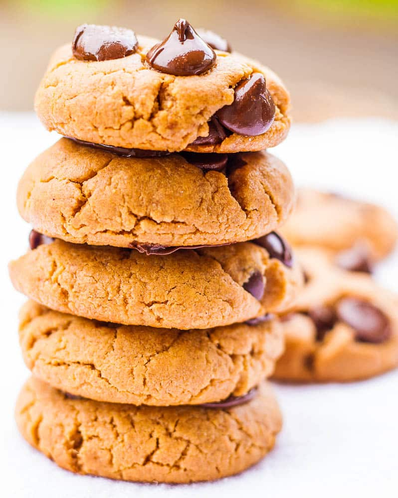 Oil Free Peanut Butter Chocolate Chip Cookies. Vegan/ GF option.